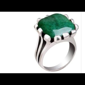 Jewelry - Natural Green Jade Stone Square Ring/ Size 7.50